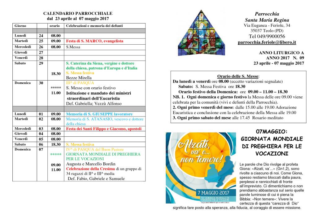 thumbnail of Bollettino Parrocchiale 23 aprile – 7 maggio 2016