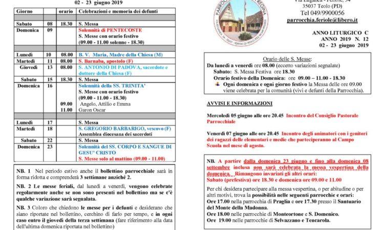 thumbnail of bollettino parrocchiale 02-06-2019 23-06-2019